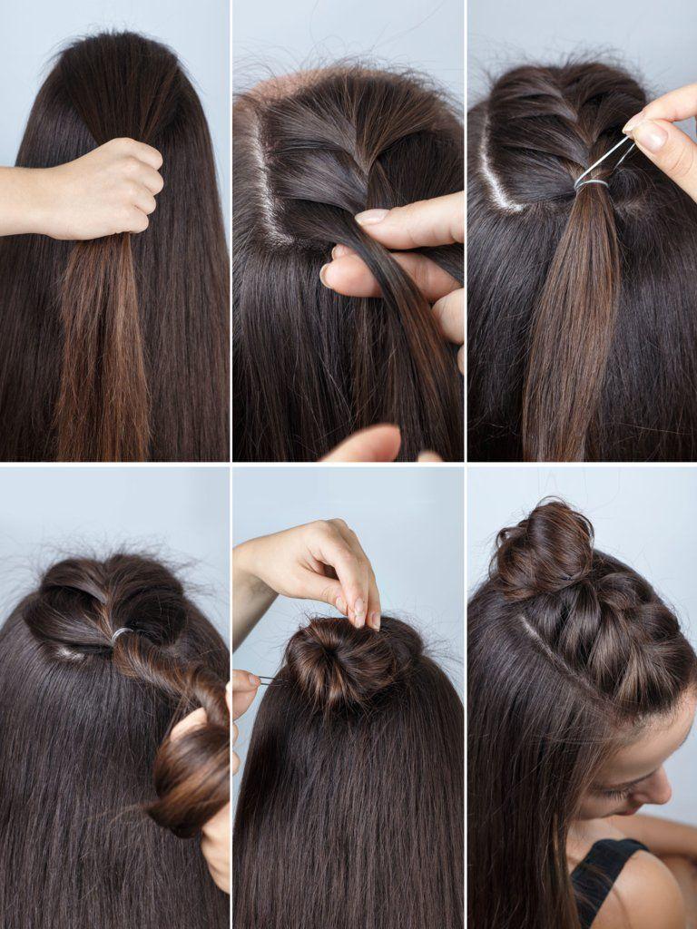 double dutch braid buns half-up hairstyle | dutch braid bun