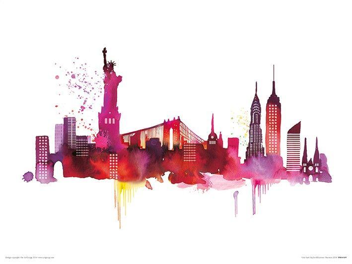 new york skyline aquarell malen und zeichnen. Black Bedroom Furniture Sets. Home Design Ideas