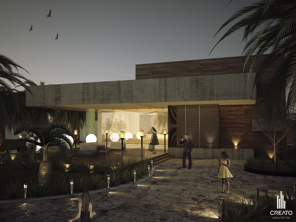 Sal n de fiestas quinta para so creato arquitectos for Jardines modernos minimalistas
