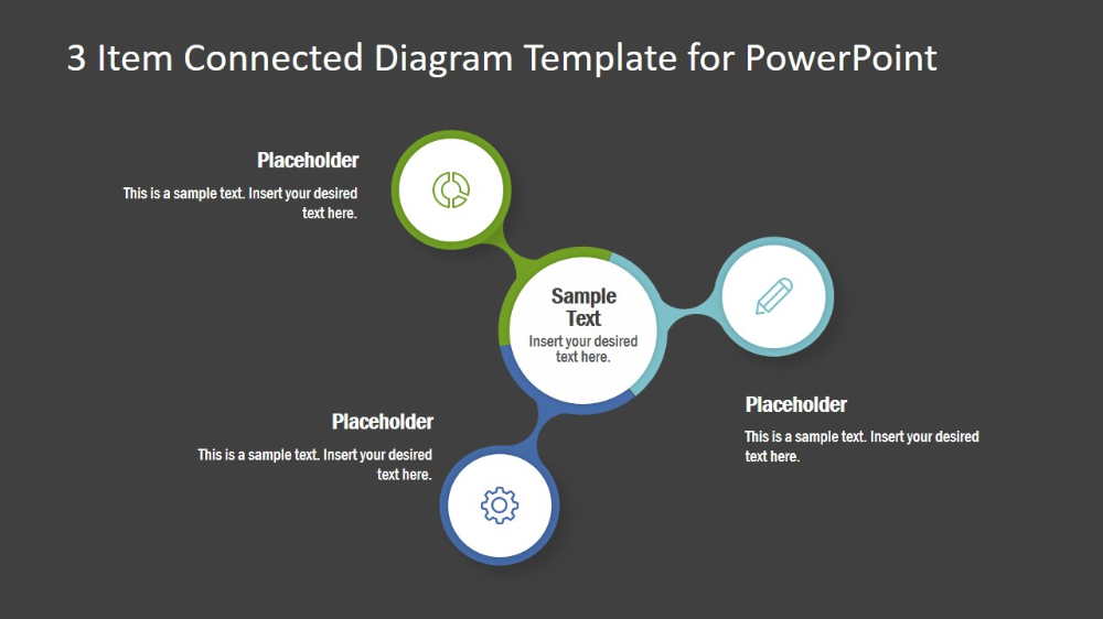 3 Item Connected Diagram Template For Powerpoint Slidemodel Powerpoint Templates Powerpoint Infographic Layout
