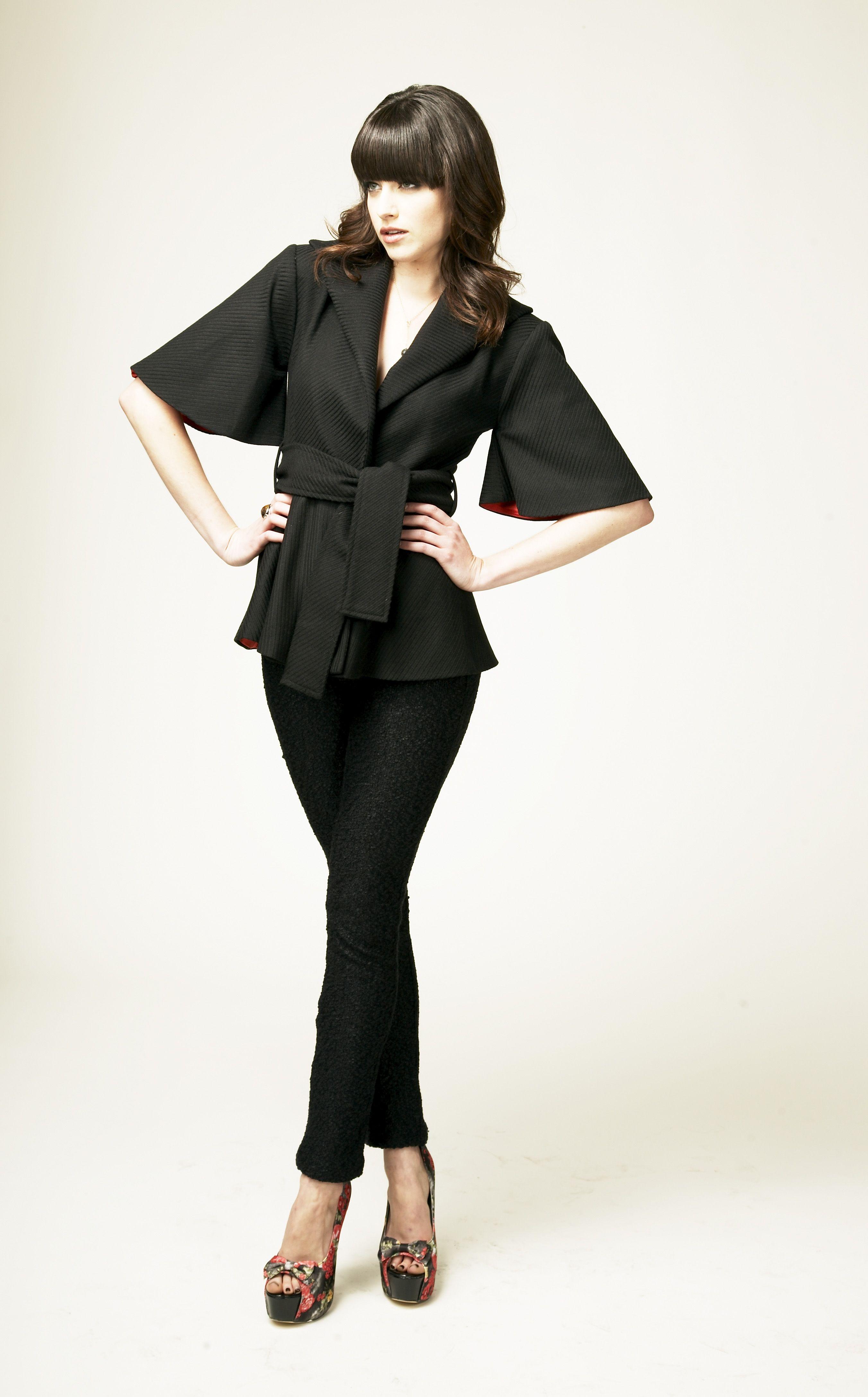 Mari Jacket:  Kimono elbow sleeve belted jacket