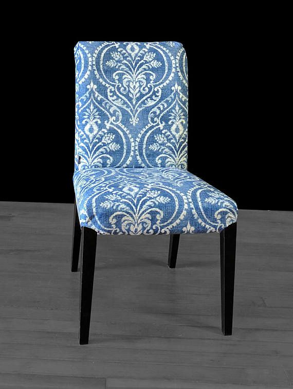 Outstanding Damask Denim Blue Ikea Henriksdal Custom Dining Chair Cover Theyellowbook Wood Chair Design Ideas Theyellowbookinfo