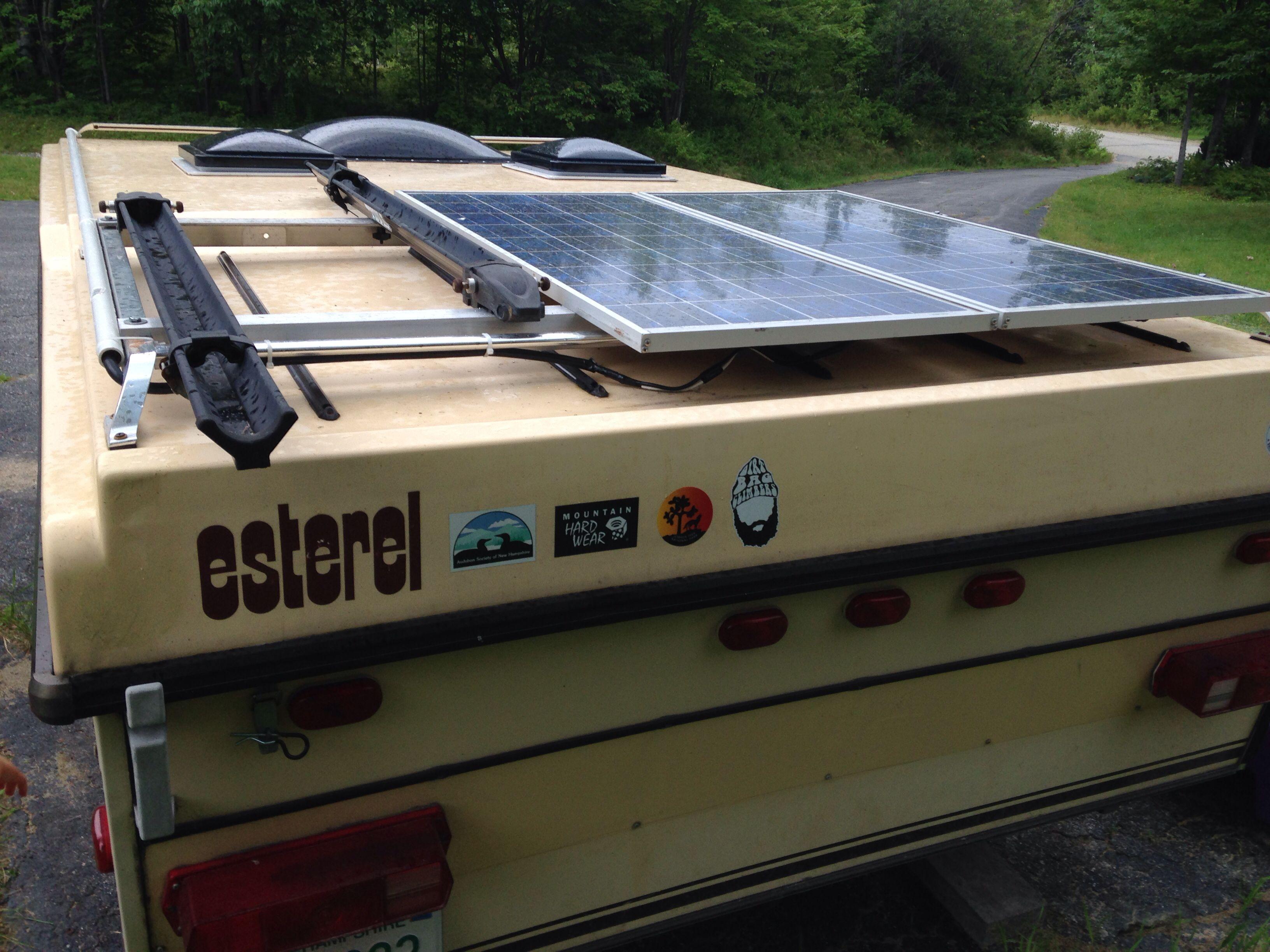 Bike racks and solar panel on Esterel folding caravan