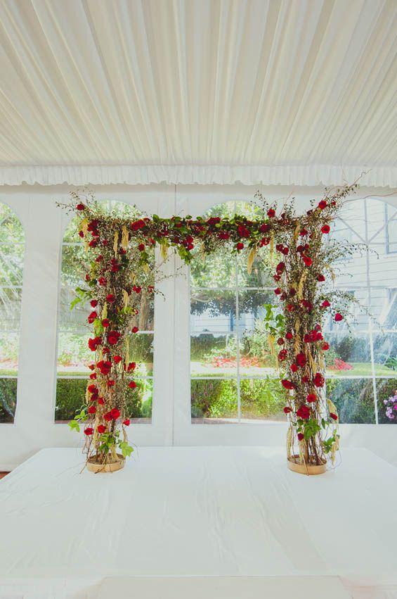 Whimsical rose wedding altar