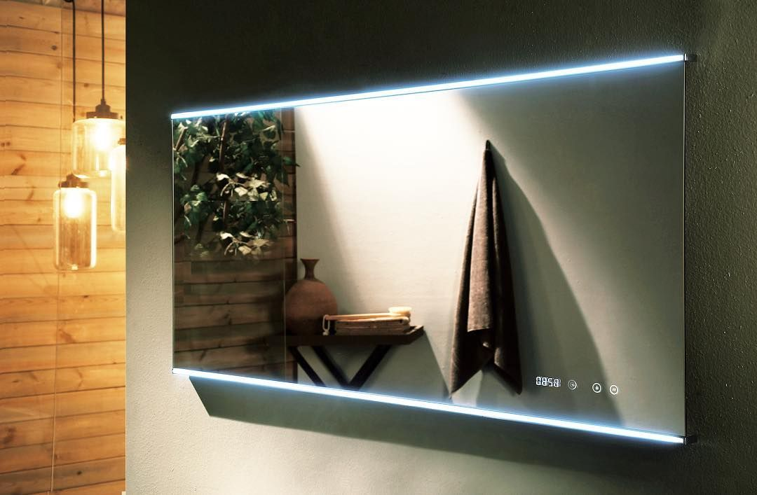 Our Lucy Deluxe From The Remer Range Featuring Led Light Strip With Touch Switch Digital Clock And Demister R Led Mirror Bathroom Bathroom Mirror Mirror