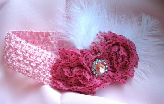 Pink Baby Waffle Headband with White Feathers by theraggedyrose ... bc06245b5ef