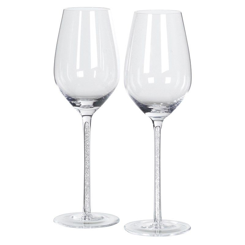 135c65610182 Set of Two Boxed White Wine Glasses with Crystal Details http   www.