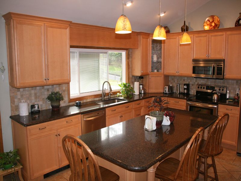 Natural Maple Recessed Kitchen Cabinets With A Mahogany ... on Natural Maple Cabinets With Quartz Countertops  id=90331