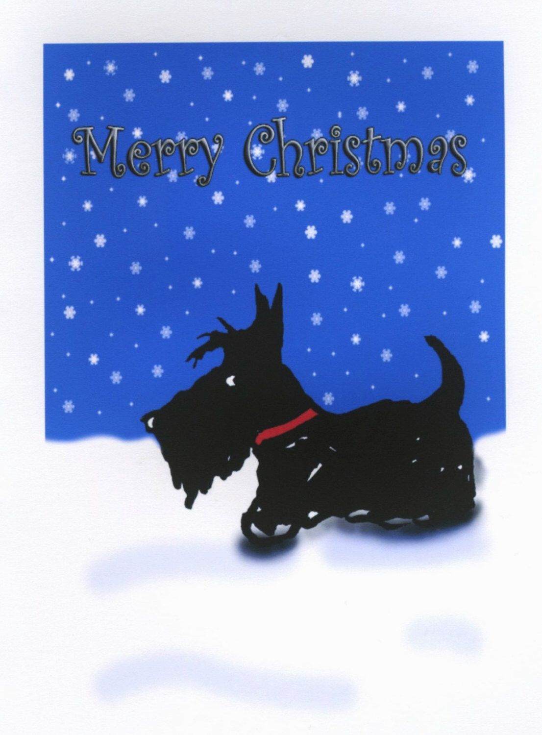 Scottie Dog Christmas Greeting Card Merry Christmas By