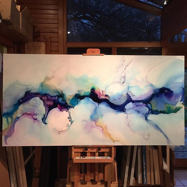 """""""Rain Song 40x80in all up in the nooks and crannies of this one today! Happy New…"""