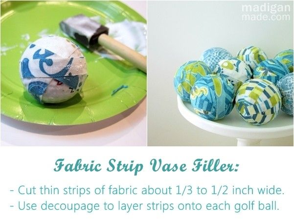DIY fabric strip mini decorative balls - these could be made with seasonal fabric and switched out for the holidays!