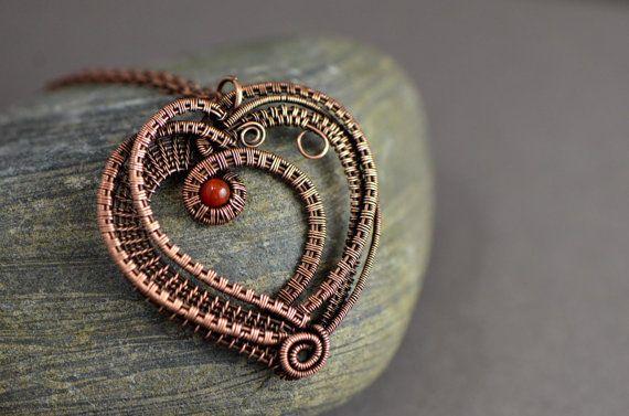 Wire wrapped pendant heart wire weave copper wire necklace carnelian gemstone elegant wire weave copper handmade jewelry love Valentine