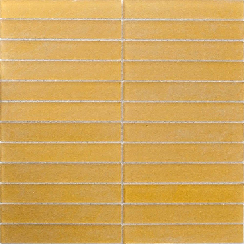 Glass Tile 1x6 Inch Burnt Mustard Yellow Frosted Glass Subway Tile Yellow Glass Tiles Glass Subway Tile Yellow Tile