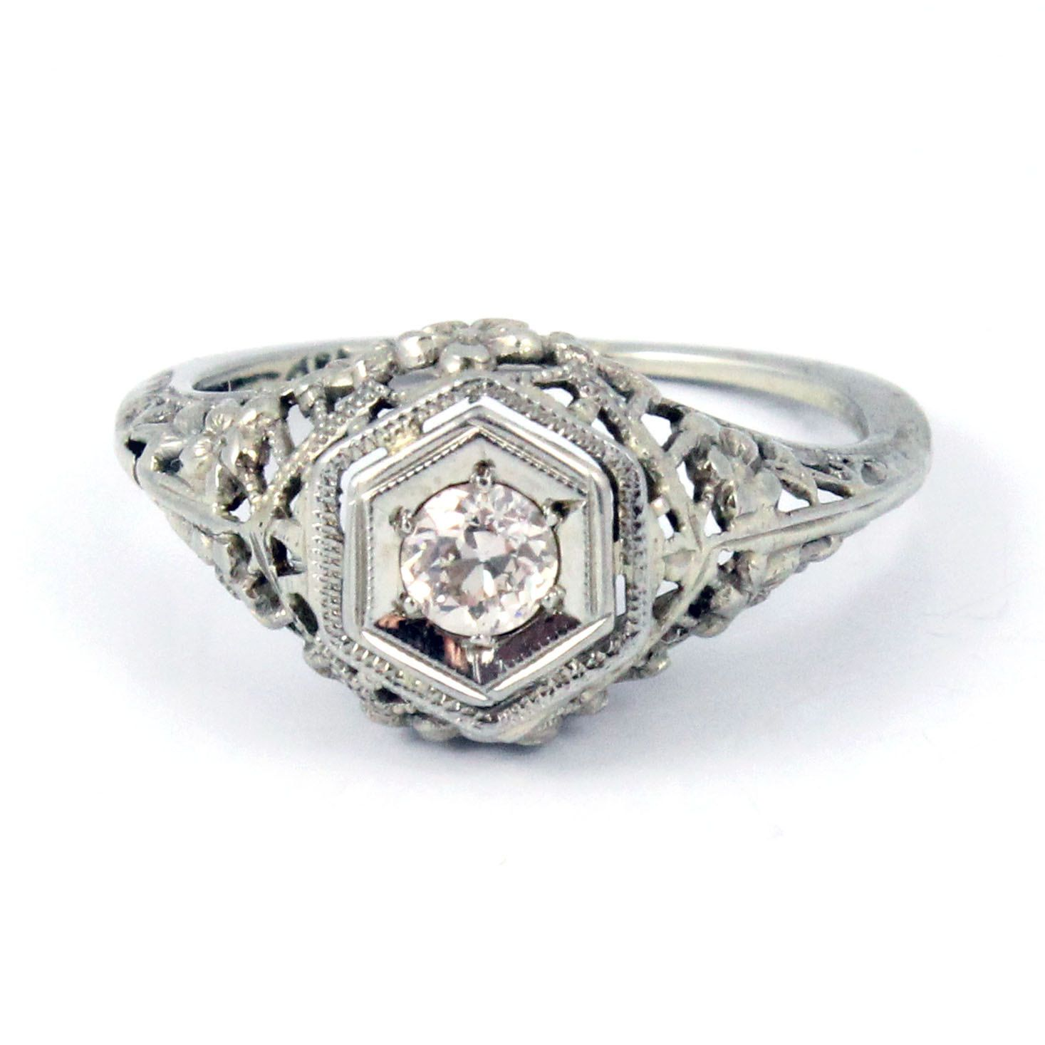 18k antique art deco 1920s diamond filigree engagement ring | to