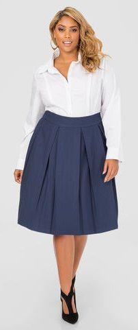 73c49e1a210 Plus Size Box Pleat Skirt