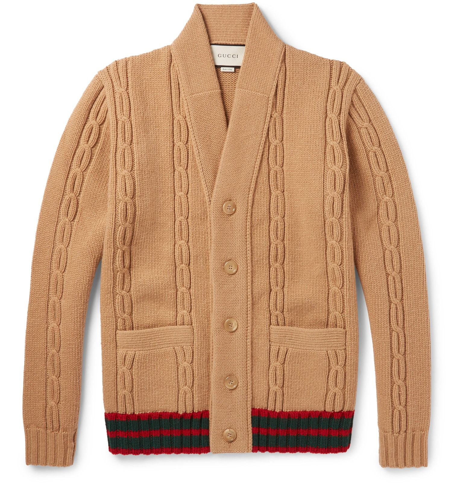 Gucci - Stripe-Trimmed Cable-Knit Wool Cardigan | Cardigans For ...