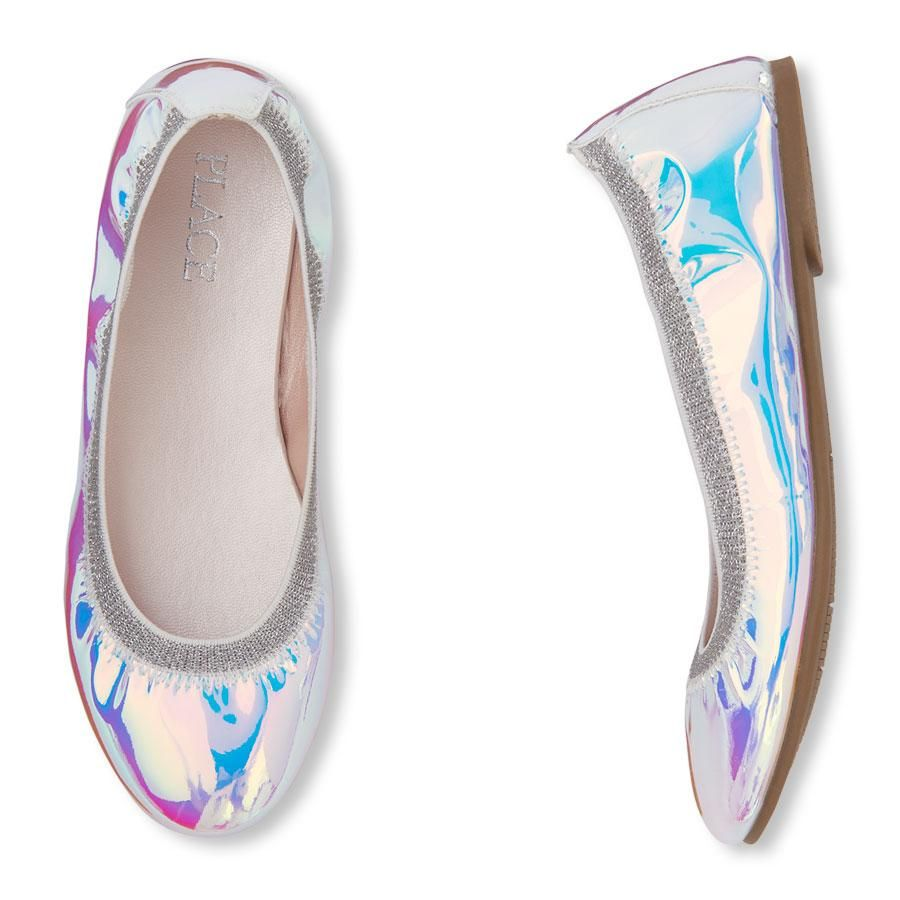 3a79bce8311 Girls Holographic Ballet Flats   shoe   PLACE in 2019   Girls shoes ...