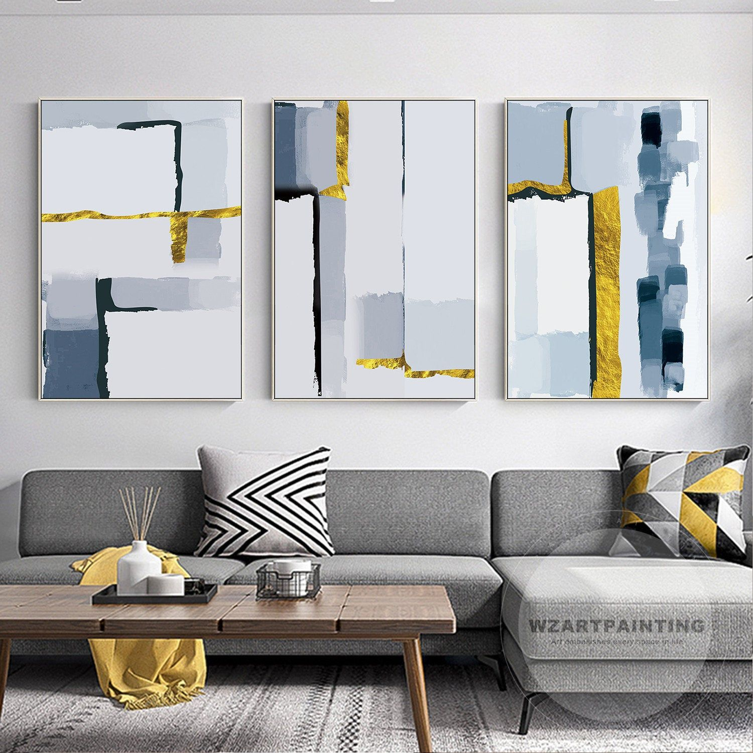 Set Of 3 Prints Framed Wall Art Modern Abstract Gold Navy Blue Print Painting Prints On Canvas L In 2020 Blue Wall Art Contemporary Decor Living Room Abstract Wall Art