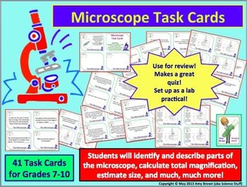 Microscope Task Cards | Task Cards for Science class | Task cards