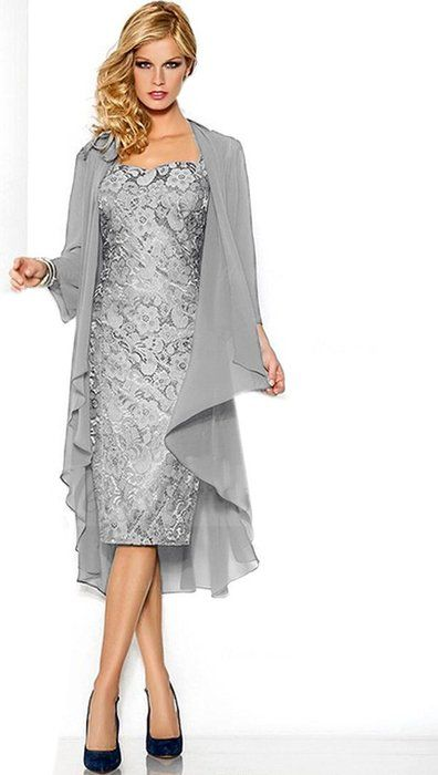 Belle House Lace Chiffon Mother Of The Groom Dresses Tea Length With ...