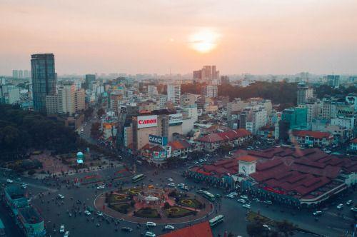 nguyenminhtinh:sunset on ho chi minh city
