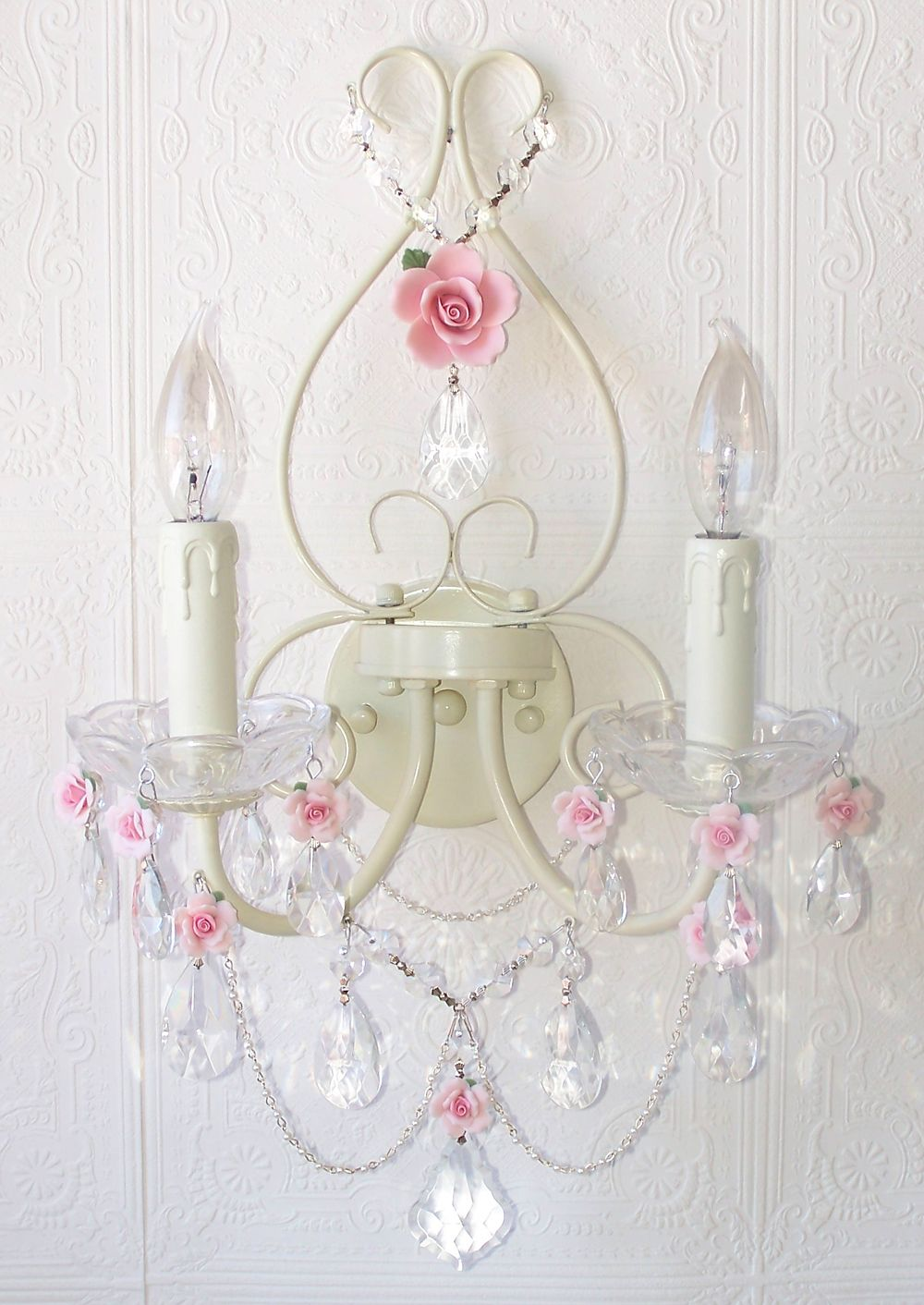 Double light antique white wall sconce with pink rose shades double light antique white wall sconce with pink porcelain roses arubaitofo Images