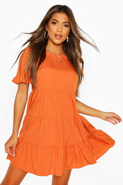 Woven Smock Dress Boohoo In 2021 Short Orange Dress Orange Bodycon Dress Orange Fashion [ 1500 x 1000 Pixel ]