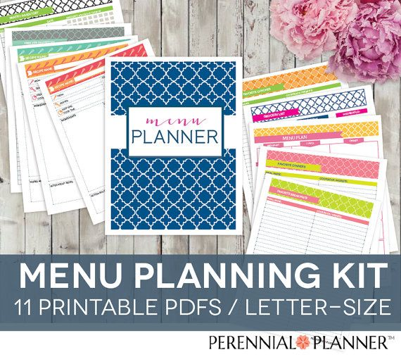 Meal Planning Printable Kit - 11 Pages - EDITABLE Weekly Menu Plan - editable lined paper