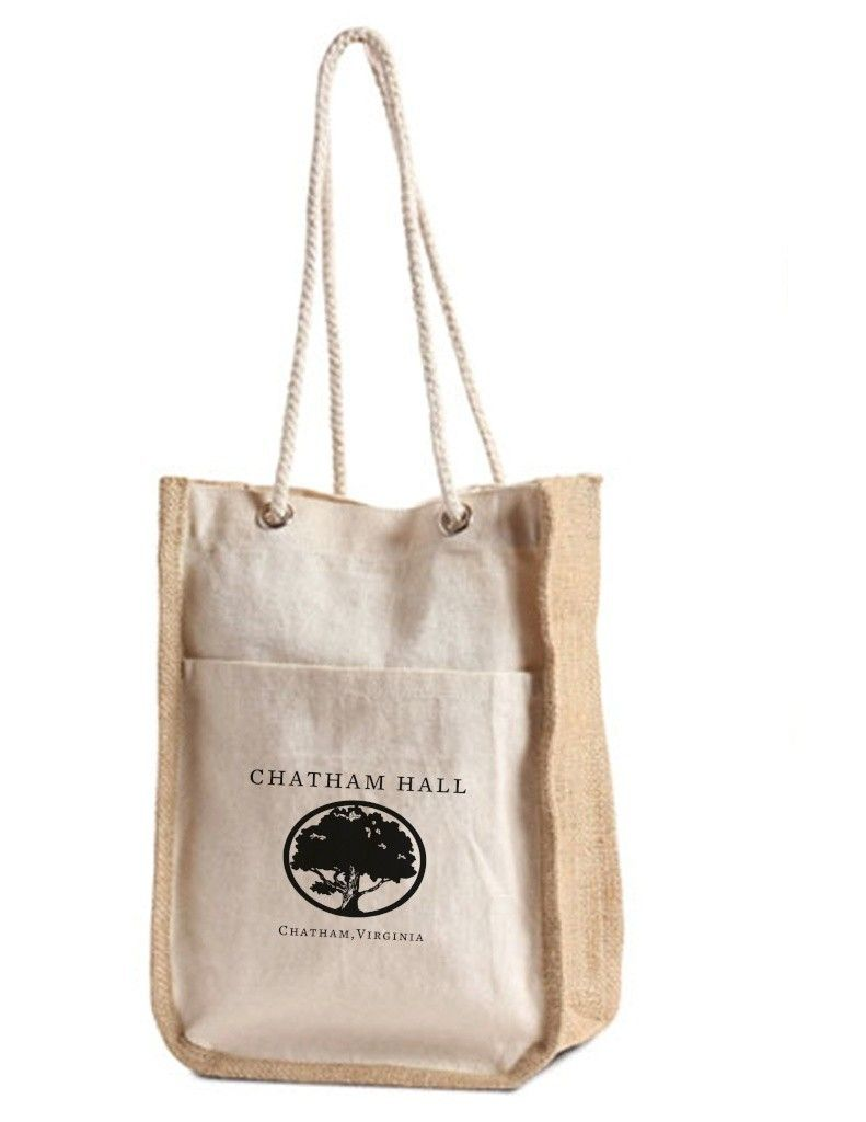 Cotton Gift Bag with Front Pocket, Jute Gusset and Rope Handles ...