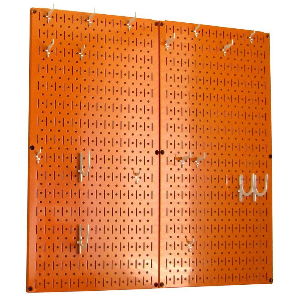 """Wandsteuerung Küchen-Steckbrett 32 """"x 32"""" Metall-Steckbrett Pantry Organizer Küchentopfgestell mit rotem Steckbrett und blauen Steckhaken 31-KTH-210 RBU – The Home Depot"""
