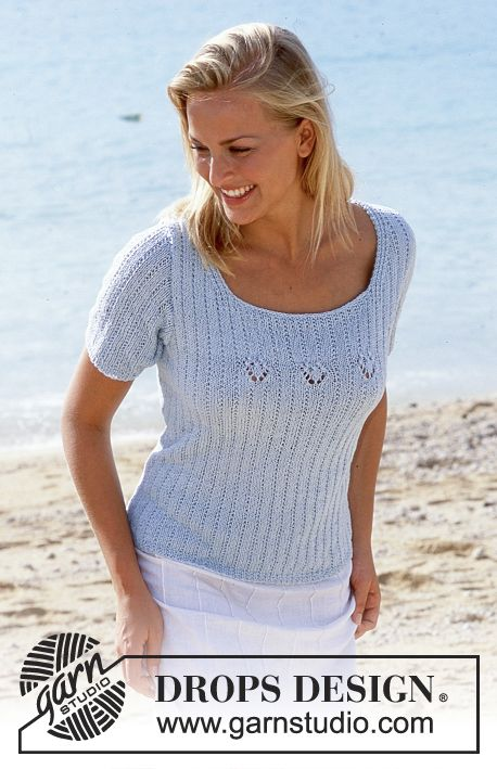 636423cc DROPS Pullover in Safran with short or long sleeves Free pattern by DROPS  Design.