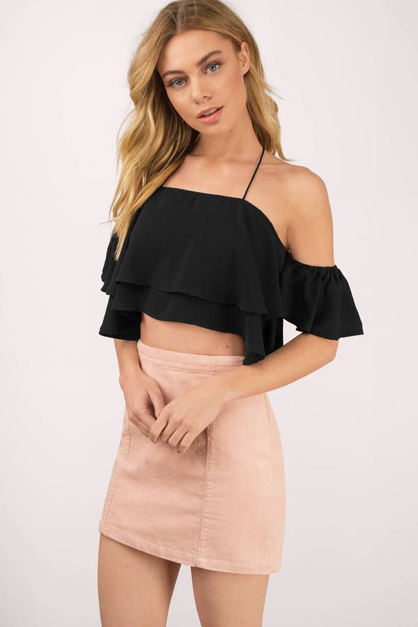 d387eb426e2b8 Add the On The Way Ruffle Crop Top to your closet. Featuring a ruffle  detail. Pair with high waisted shorts.  shoptobi
