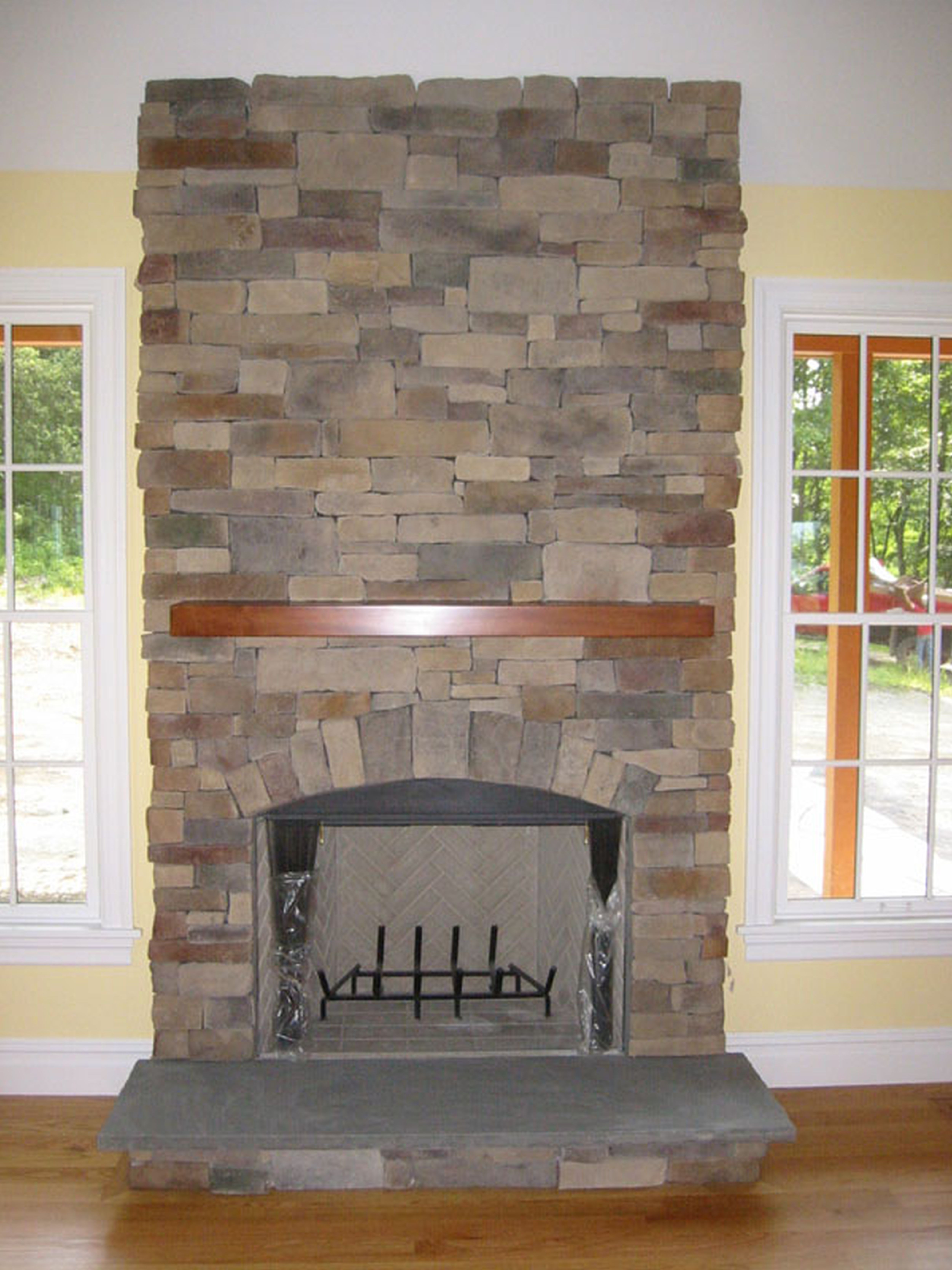 uncategorized magnificent stacked stone corner electric fireplace