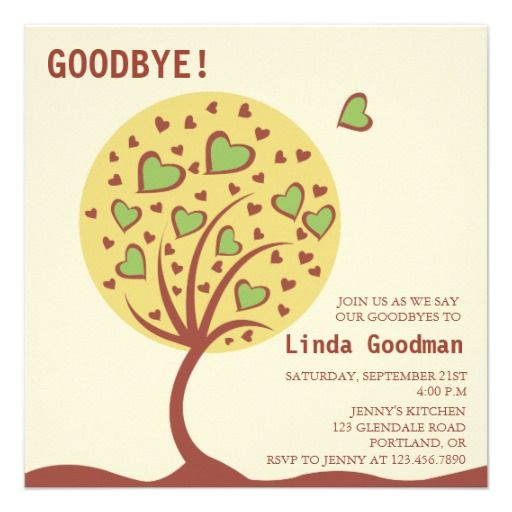 Heart Tree  Farewell Party Invitation  Farewell Parties Heart