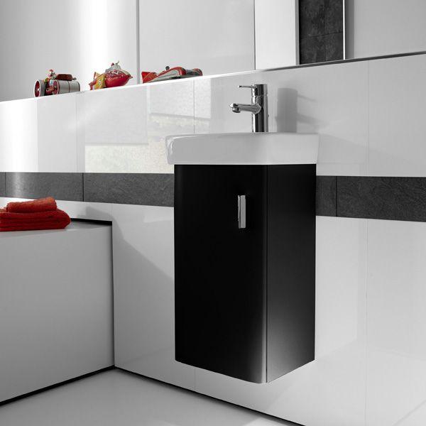 Meuble suspendu Roca finition laqué noir mat Salle de bain Noire - salle de bain meuble noir