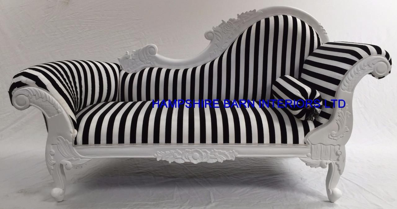 Medium French Chaise Longue Sofa White W Black White Stripe Lounge Bedroom Black And White Sofa Boutique Sofa White Sofa Bed