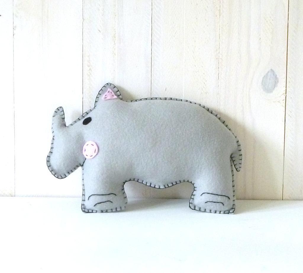 Stuffed rhinoceros rhinoceros sewing patterns and sewing toys safari stuffed animal sewing patterns felt by littlesoftieshoppe jeuxipadfo Choice Image