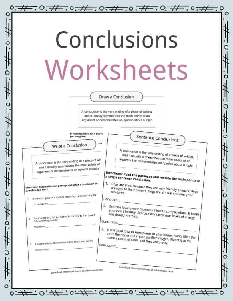 Draw Conclusions Worksheet 4th Grade Conclusion Worksheets Examples Definition Me Punctuation Worksheets Kindergarten Worksheets Printable Writing Worksheets