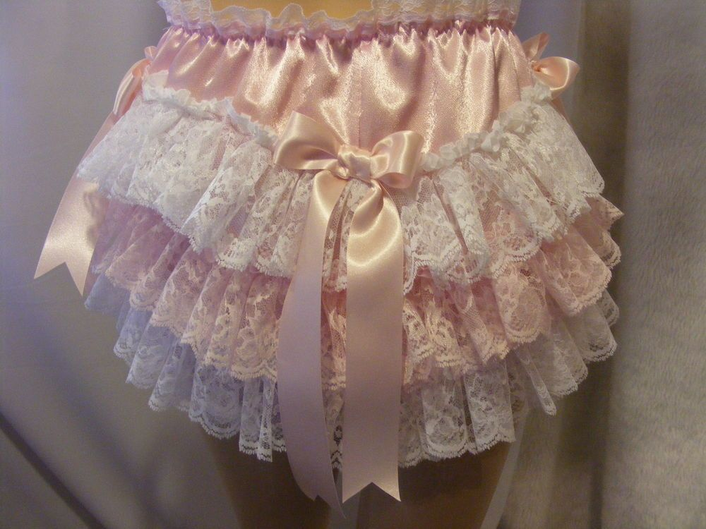 e3610f007 PINK SATIN FRILLY LACE SISSY ADULT BABY PANTS,KNICKERS,DIAPER COVER CD,TV