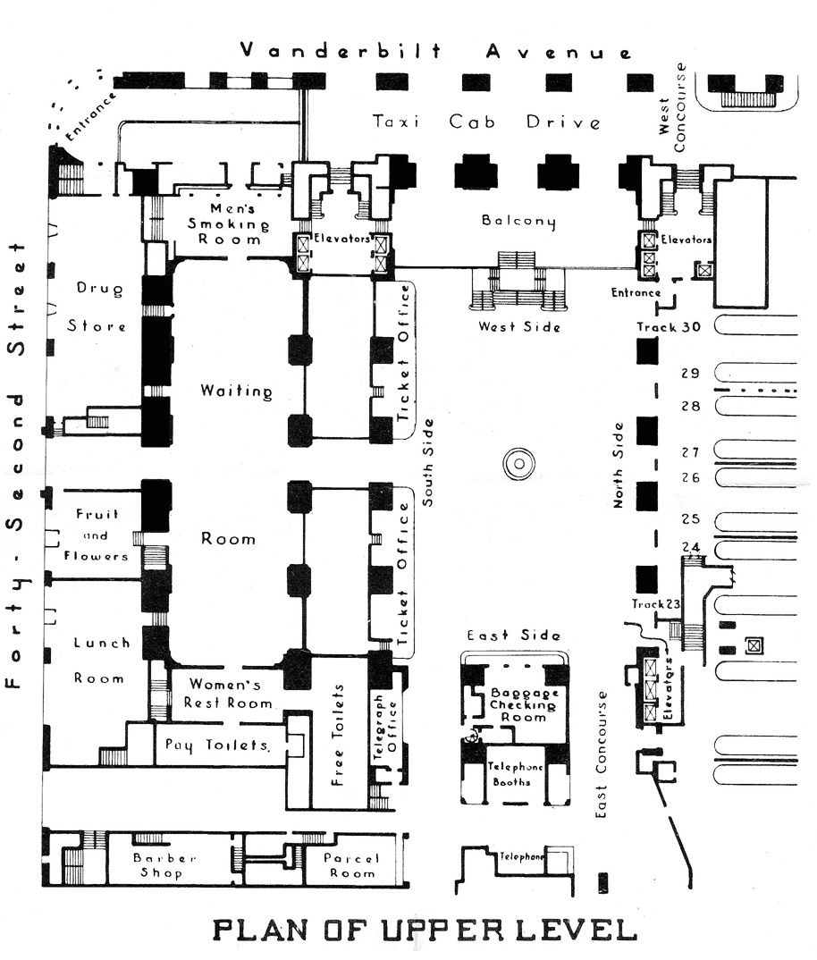 Upper floor plan from 1939 of Grand Central Terminal, New