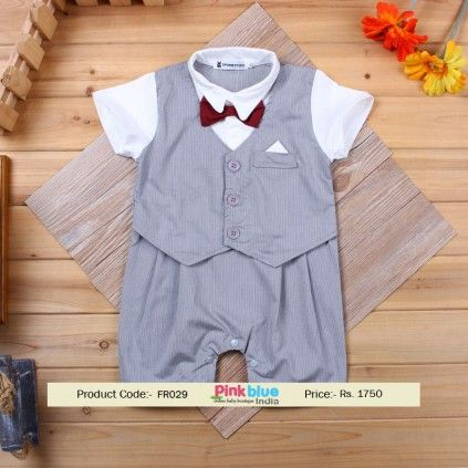 a97a03e9a Buy Online Grey Stripped Baby Boy Formal Wear with Bow in India ...