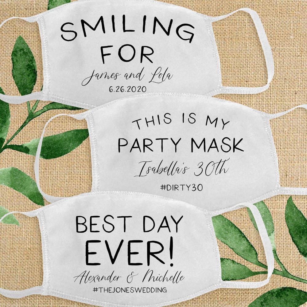 Wedding Face Masks for Guests Custom Wedding Face Mask ...