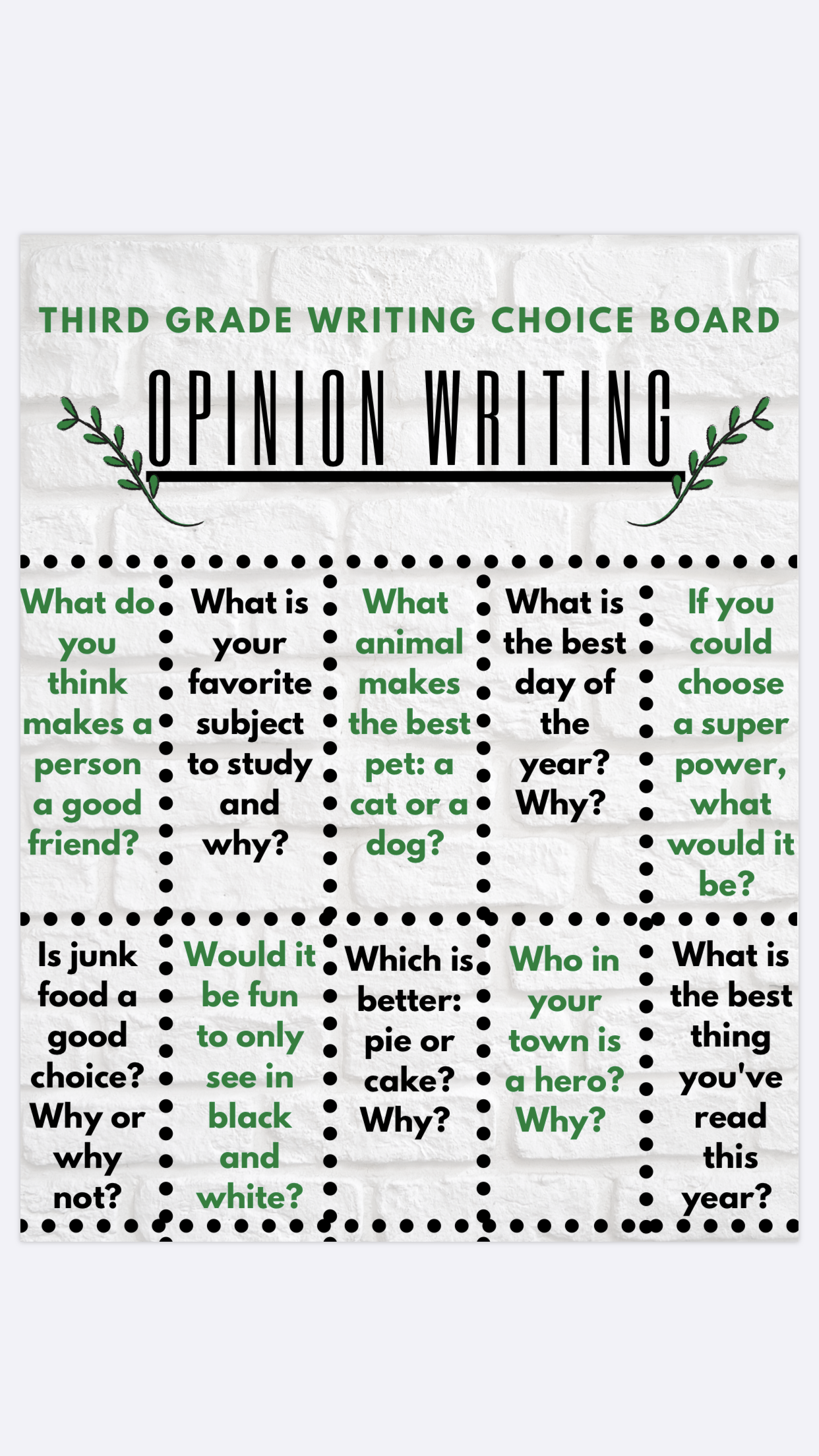 Choice Board Third Grade Opinion Writing Freebie Opinion Writing Third Grade Opinion Writing Third Grade Writing