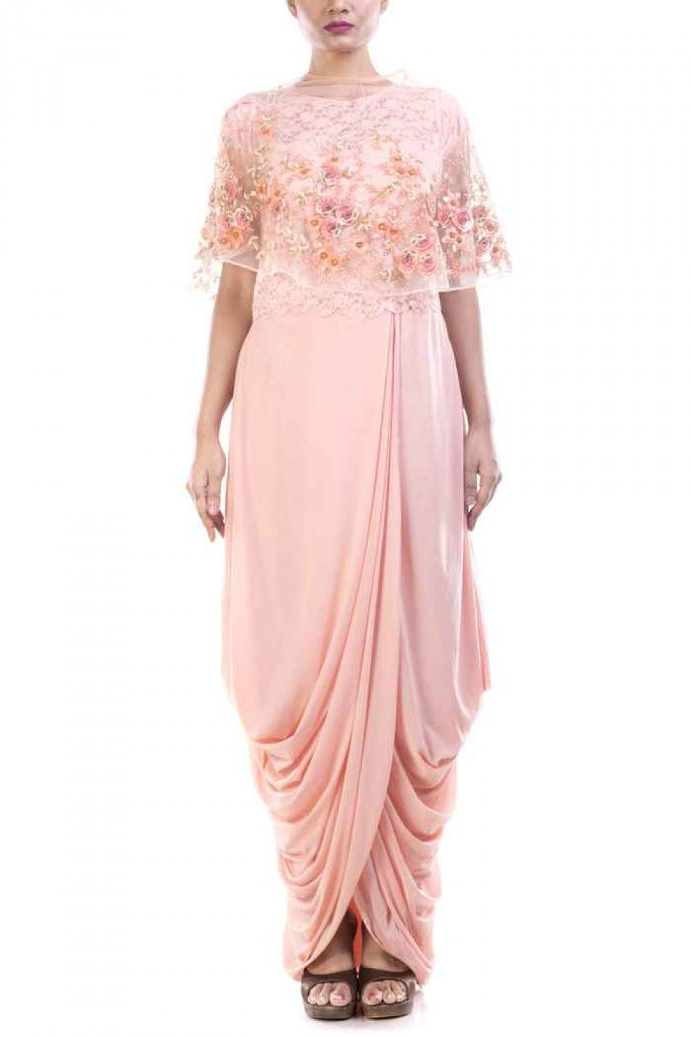 Seashell dhoti draped gown u cape set indian ethnic gowns