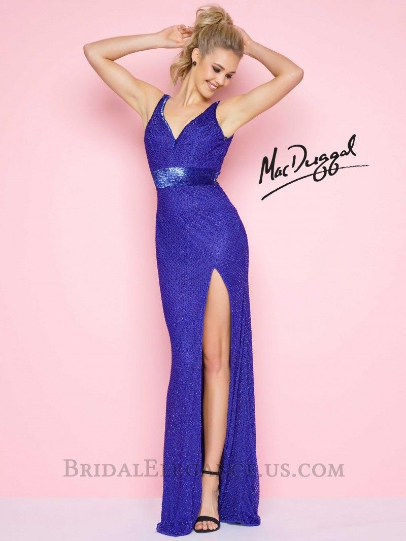 Mac Duggal 1070L is a fully bugle beaded sleeveless prom dresses ...