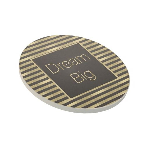 Chic Gold and Black Stripes Dream Big Personalized Drink Coaster
