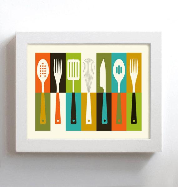 Kitchen Art Mid Century Modern Wall