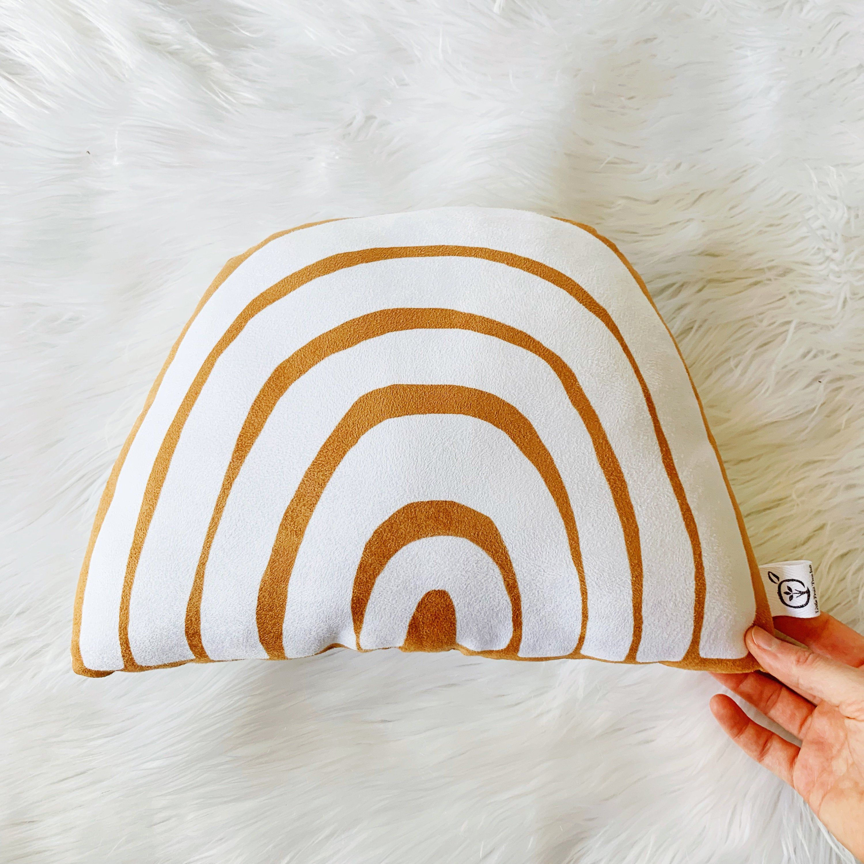 Orange Minimalist Rainbow Pillow