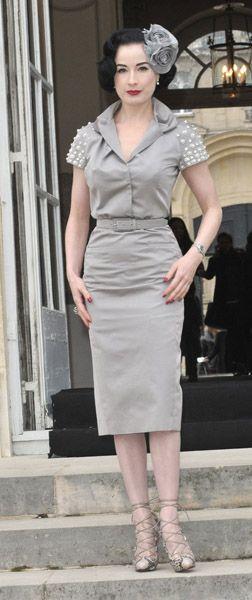 Dita von Teese in Christian Dior and Louboutin.