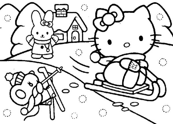 Christmas Hello Kitty Playing Snow Coloring Page Coloring Pages